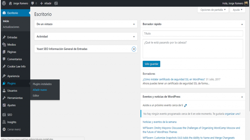 Añadir plugins en WordPress