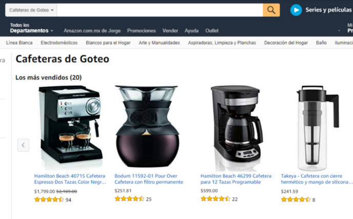 web scraping amazon cafeteras